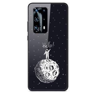 Θήκη Huawei P40 OEM σχέδιο Man On The Moon με πλάτη από Tempered Glass και εσωτερικό TPU