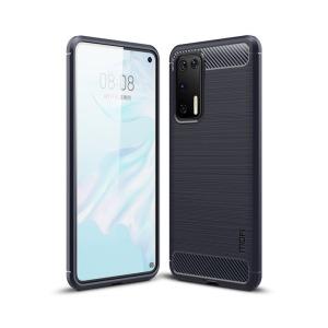 Θήκη Huawei P40 MOFI Brushed TPU Carbon Πλάτη μπλε σκούρο