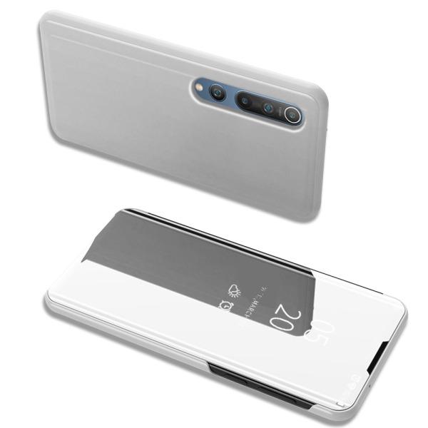 Θήκη Xiaomi Mi 10 / Mi 10 Pro OEM Mirror Surface View Stand Case Cover Flip Window ασημί
