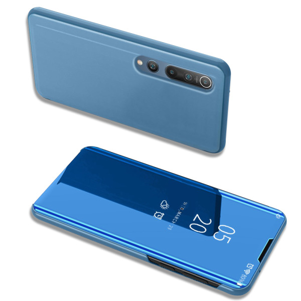 Θήκη Xiaomi Mi 10 / Mi 10 Pro OEM Mirror Surface View Stand Case Cover Flip Window γαλάζιο