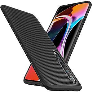 Θήκη Xiaomi Mi 10 / Mi 10 Pro LENUO Twill Texture Carbon Πλάτη TPU μαύρο