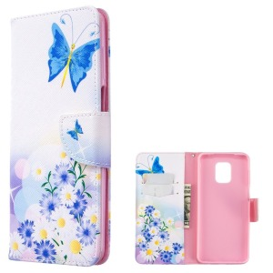 Θήκη Xiaomi Redmi Note 9S OEM Blue Butterfly & Flowers με βάση στήριξης