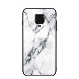 Θήκη Xiaomi Redmi Note 9S OEM σχέδιο Marble με Πλάτη Tempered Glass TPU λευκό