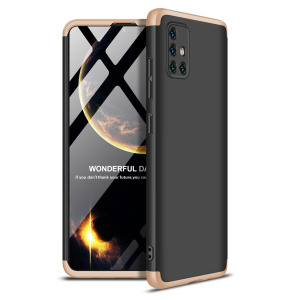 Θήκη GKK Full body Protection 360° από σκληρό πλαστικό για  Samsung Galaxy A51 μαύρο / χρυσό
