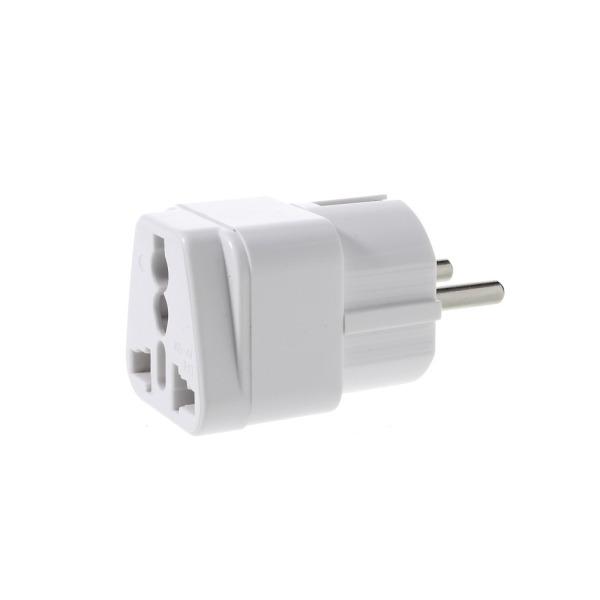 Πρίζα Σούκο / Μετατροπέας Αγγλίας & Αμερικής σε Ευρωπαϊκή 220V - Ac Power Adapter UK-AU-US Socket to EU Schuko Plug Λευκή