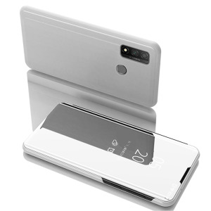 Θήκη Huawei P Smart (2020) OEM Mirror Surface View Stand Case Cover Flip Window ασημί