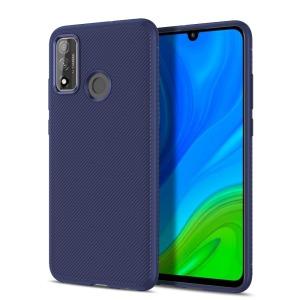 Θήκη Huawei P Smart (2020) LENUO Twill Texture Carbon Πλάτη TPU μπλε