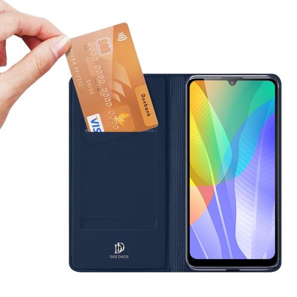 υποδοχή καρτών και μαγνητικό κούμπωμα Flip Wallet από συνθετικό δέρμα και TPU μπλε