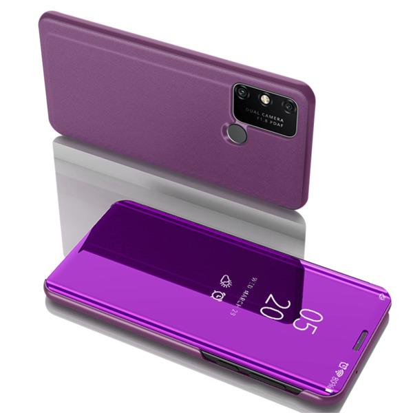 Θήκη Huawei Y6p OEM Mirror Surface View Stand Case Cover Flip Window μωβ