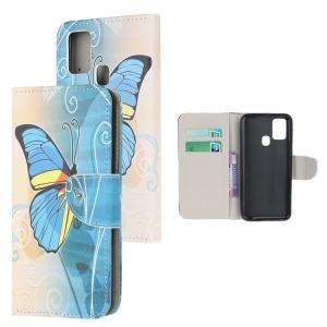 Θήκη Samsung Galaxy A21s OEM Blue Butterfly & Flowers με βάση στήριξης