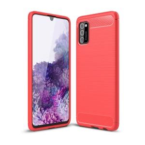 Θήκη Samsung Galaxy A41 OEM Brushed TPU Carbon Πλάτη κόκκινο ανοιχτό