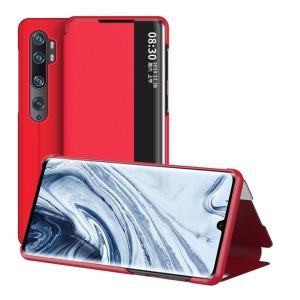 Θήκη Xiaomi Mi Note 10 Lite OEM Half Mirror Surface View Stand Case Cover Flip Window από συνθετικό δέρμα κόκκινο