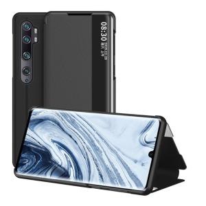 Θήκη Xiaomi Mi Note 10 Lite OEM Half Mirror Surface View Stand Case Cover Flip Window από συνθετικό δέρμα μαύρο