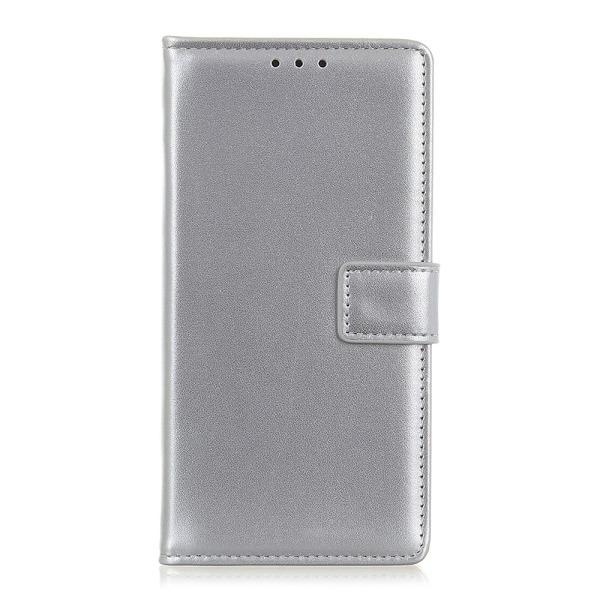 υποδοχές καρτών και μαγνητικό κούμπωμα Flip Wallet από συνθετικό δέρμα ασημί