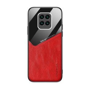 Θήκη Xiaomi Redmi Note 9 OEM Magnetic Glass Series πλάτη με ενσωματωμένο μαγνήτη και υποστήριξη μαγνητικής βάσης από συνθετικό δέρμα TPU κόκκινο