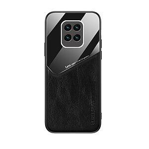Θήκη Xiaomi Redmi Note 9 OEM Magnetic Glass Series πλάτη με ενσωματωμένο μαγνήτη και υποστήριξη μαγνητικής βάσης από συνθετικό δέρμα TPU μαύρο