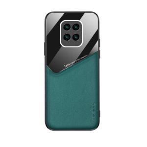 Θήκη Xiaomi Redmi Note 9 OEM Magnetic Glass Series πλάτη με ενσωματωμένο μαγνήτη και υποστήριξη μαγνητικής βάσης από συνθετικό δέρμα TPU πράσινο