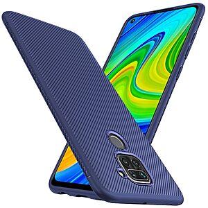 Θήκη Xiaomi Redmi Note 9 OEM Twill Texture Carbon Πλάτη TPU μπλε