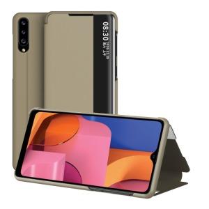 Θήκη Samsung Galaxy A20s OEM Half Mirror Surface View Stand Case Cover Flip Window από συνθετικό δέρμα χρυσό