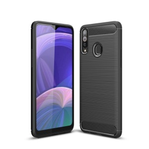 Θήκη Samsung Galaxy A20s OEM Brushed TPU Carbon Πλάτη μαύρο
