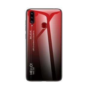 Θήκη Samsung Galaxy A20s OEM Gradient Color Laser Carving Tempered Glass Πλάτη TPU μαύρο / κόκκινο