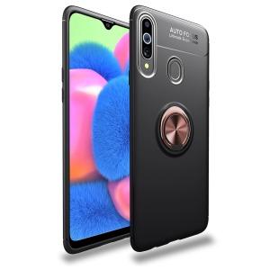 Θήκη Samsung Galaxy A20s LENUO Magnetic Ring Kickstand / Μαγνητικό δαχτυλίδι / Βάση στήριξης TPU μαύρο / ροζ χρυσό