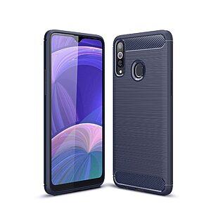 Θήκη Samsung Galaxy A20s OEM Brushed TPU Carbon Πλάτη μπλε