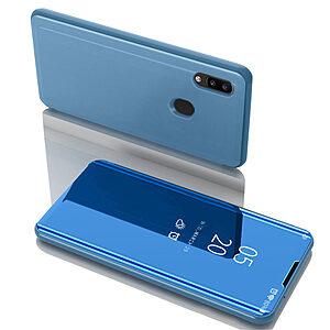 Θήκη Samsung Galaxy A31 OEM Mirror Surface Series Flip Window δερματίνη χρυσό γαλάζιο