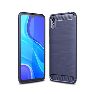 Θήκη Xiaomi Redmi 9A OEM Brushed TPU Carbon Πλάτη μπλε