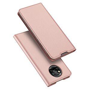 Θήκη Xiaomi Poco X3 NFC DUX DUCIS Skin Pro Series με βάση στήριξης, υποδοχή καρτών και μαγνητικό κούμπωμα Flip Wallet από συνθετικό δέρμα και TPU ροζ χρυσό