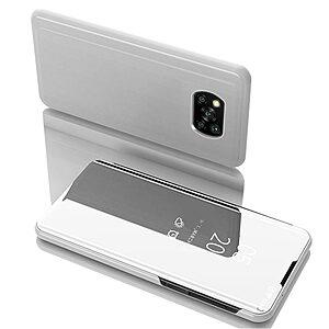Θήκη Xiaomi Poco X3 NFC OEM Mirror Surface Series Flip Window δερματίνη χρυσό ασημί