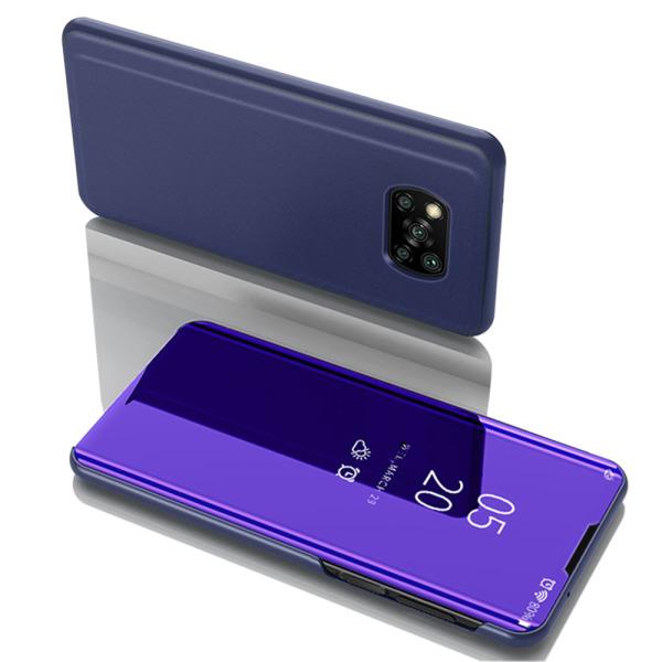 Θήκη Xiaomi Poco X3 NFC OEM Mirror Surface Series Flip Window δερματίνη χρυσό μπλε