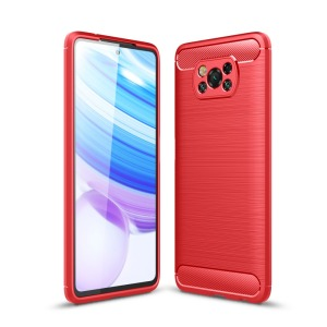 Θήκη Xiaomi Poco X3 NFC OEM Brushed TPU Carbon Πλάτη κόκκινο ανοιχτό