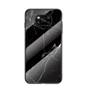 Θήκη Xiaomi Poco X3 NFC OEM σχέδιο Marble με Πλάτη Tempered Glass και TPU μαύρο