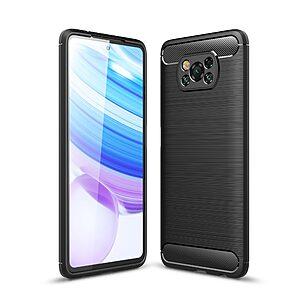 Θήκη Xiaomi Poco X3 NFC OEM Brushed TPU Carbon Πλάτη μαύρο