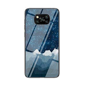 Θήκη Xiaomi Poco X3 NFC OEM σχέδιο Sky Full Of Stars με πλάτη από Tempered Glass και εσωτερικό TPU μπλε