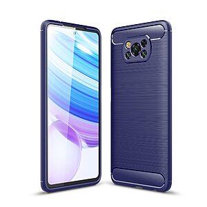 Θήκη Xiaomi Poco X3 NFC OEM Brushed TPU Carbon Πλάτη μπλε σκούρο