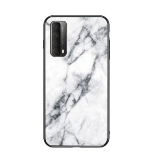Θήκη Huawei P Smart (2021) OEM σχέδιο Marble με Πλάτη Tempered Glass TPU λευκό