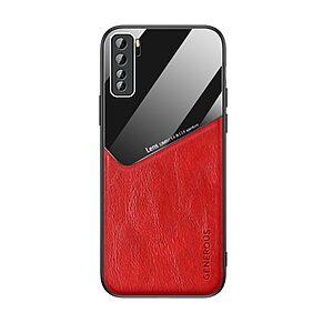 Θήκη Huawei P40 Lite 5G OEM Magnetic Glass Series πλάτη με ενσωματωμένο μαγνήτη και υποστήριξη μαγνητικής βάσης από συνθετικό δέρμα TPU κόκκινο