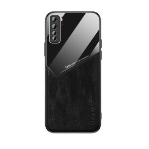 Θήκη Huawei P40 Lite 5G OEM Magnetic Glass Series πλάτη με ενσωματωμένο μαγνήτη και υποστήριξη μαγνητικής βάσης από συνθετικό δέρμα TPU μαύρο