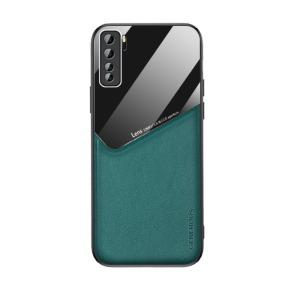 Θήκη Huawei P40 Lite 5G OEM Magnetic Glass Series πλάτη με ενσωματωμένο μαγνήτη και υποστήριξη μαγνητικής βάσης από συνθετικό δέρμα TPU πράσινο