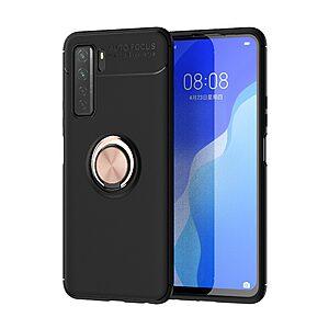 Θήκη Huawei P40 Lite 5G OEM Magnetic Ring Kickstand / Μαγνητικό δαχτυλίδι / Βάση στήριξης TPU μαύρο / ροζ χρυσό
