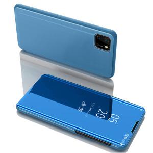 Θήκη Huawei Y5p OEM Mirror Surface Series Flip Window δερματίνη χρυσό γαλάζιο