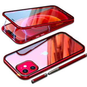 Θήκη iPhone 12 Mini LUPHIE Μεταλλική με εσωτερικό μαγνήτη και Premium Tempered Glass διπλής όψης κόκκινο