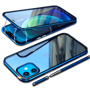 Θήκη iPhone 12 Mini LUPHIE Μεταλλική με εσωτερικό μαγνήτη και Premium Tempered Glass διπλής όψης μπλε