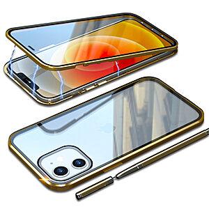 Θήκη iPhone 12 Mini LUPHIE Μεταλλική με εσωτερικό μαγνήτη και Premium Tempered Glass διπλής όψης χρυσό