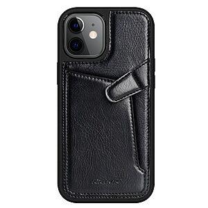 Θήκη iPhone 12 Mini NiLLkin Aoge Series πλάτη δερμάτινη με υποδοχή κάρτας και αντικραδασμικό Premium TPU μαύρο