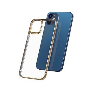 Θήκη iPhone 12 Mini BASEUS διακριτική πλάτη με Anti-fall Plating από Premium TPU χρυσό