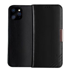 Θήκη iPhone 12 Pro Max DZGOGO book με μαγνητικό κούμπωμα Royale Series II με Premium αυθεντικό δέρμα μαύρο