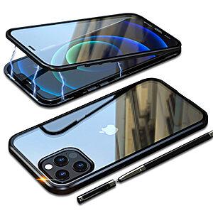 Θήκη iPhone 12 Pro Max LUPHIE Μεταλλική με εσωτερικό μαγνήτη και Premium Tempered Glass διπλής όψης μαύρο